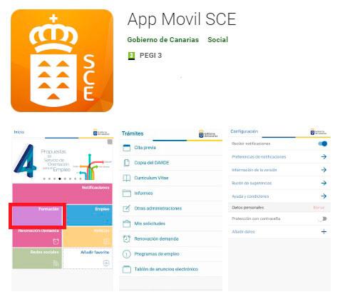 Cursos Gratis SCE desde la Aplicación SCE