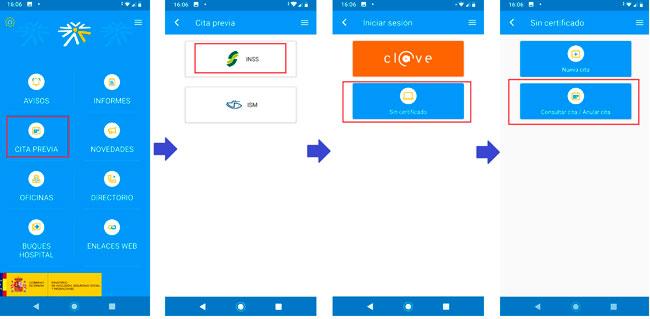 Eliminar cita Seguridad Social por la app