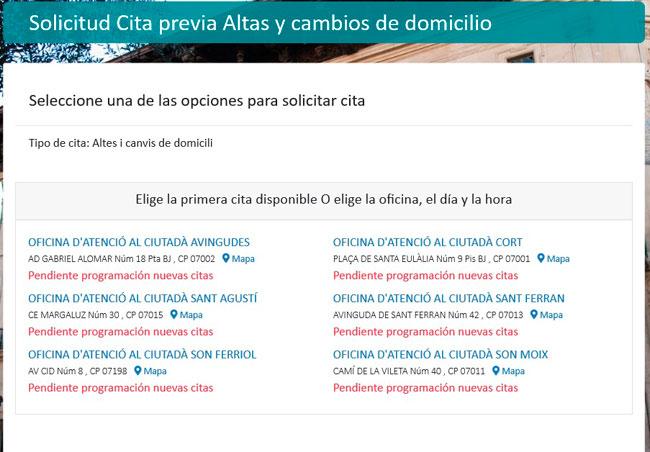 Selecciona oficina para Cita Previa en Palma