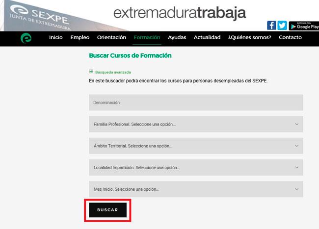 Buscador cursos desempleados del SEXPE