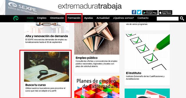 Portal web SEXPE para buscar cursos