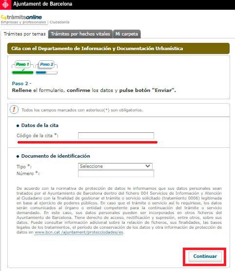 Introduce datos para anular cita con el Ayuntamiento de Barcelona