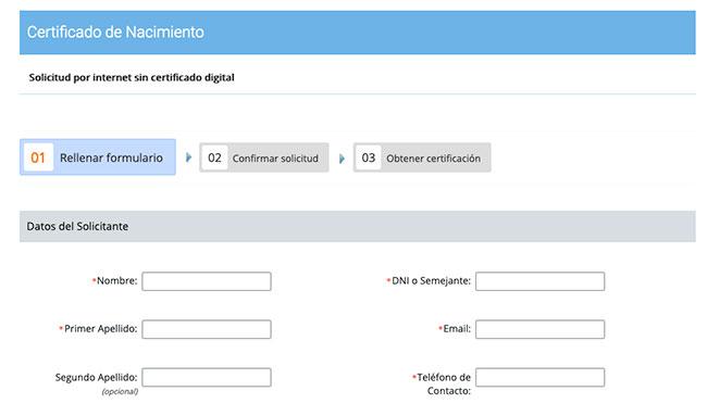 Certificado de Nacimiento sin certificado digital