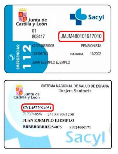 CIP de SACYL en las tarjetas