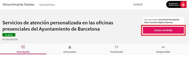 Portal cita Previa con el Ayuntamiento de Barcelona
