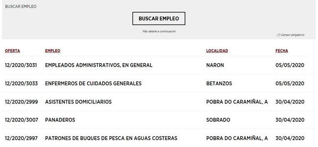 Ofertas de empleo Emprego Xunta
