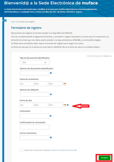 Formulario Alta usuario aplicación Muface