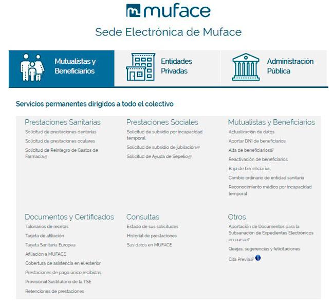 Servicios Muface desde internet