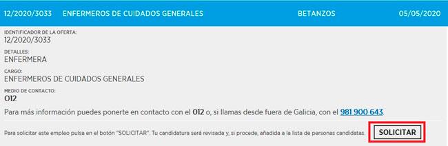 Solicita la oferta de empleo en galicia