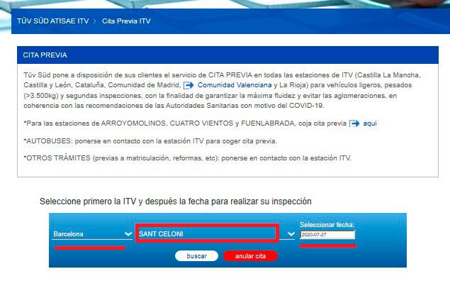 Pedir cita por internet en las estaciones ITV de TÜV SÜD