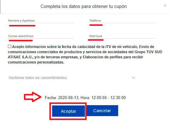 Datos personales para tu cita por internet en ITV de TÜV SÜD