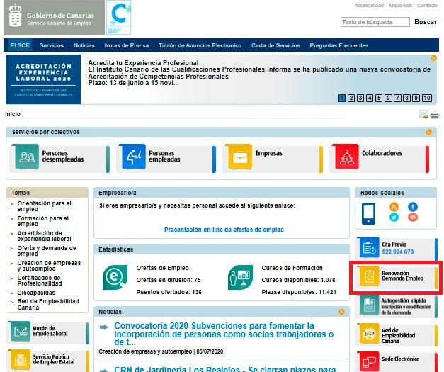 Renovar la Demanda desde el portal de empleo de Canarias