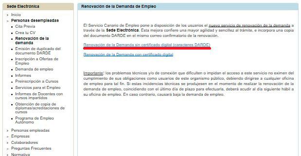 Selección de la Renovación demanda desde internet en Canarias