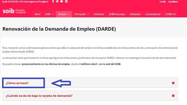 Renovar la Demanda de Empleo por internet con el SOIB