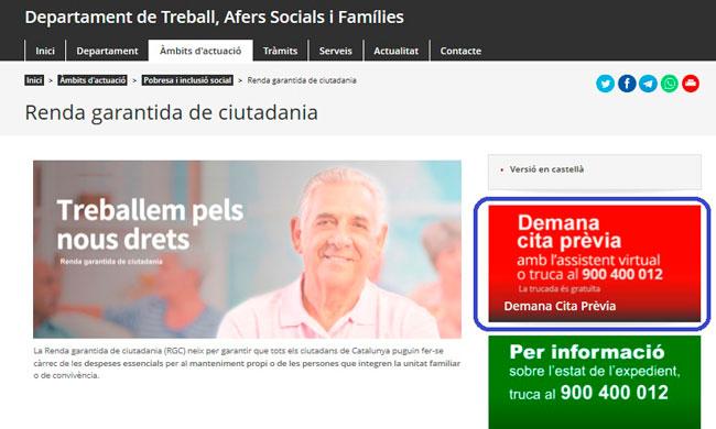 Renta Garantizada en Cataluña por internet