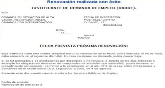Resultado de Sellar el Paro por internet en Madrid
