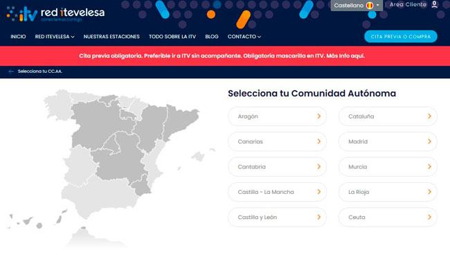 Selecciona la Comunidad para la cita ITV de Itevelesa por internet
