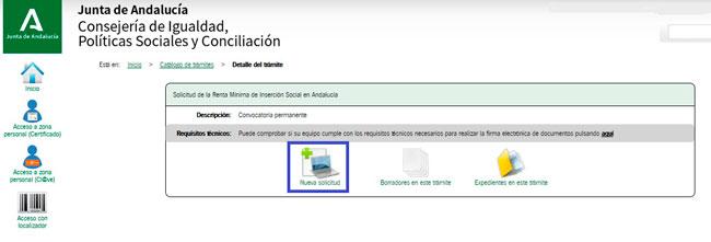 Solicitar Renta Social por internet en Andalucía