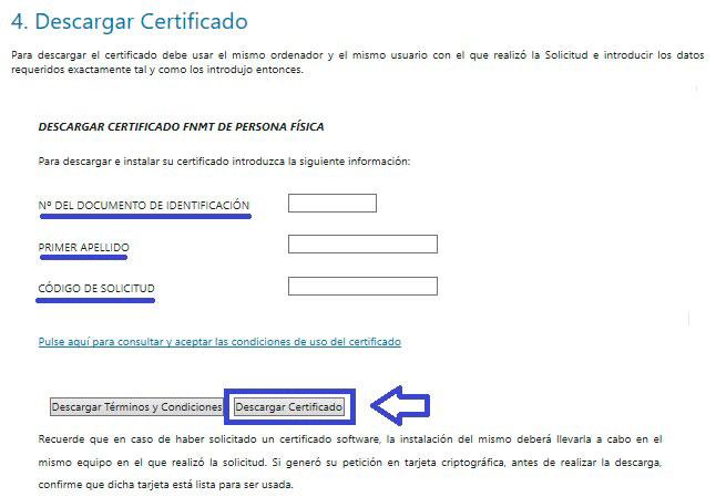 Descargar certificado por internet