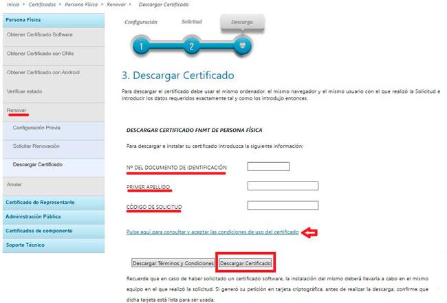 Descarga del certificado renovado