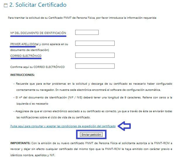 Pedir el certificado digital por internet