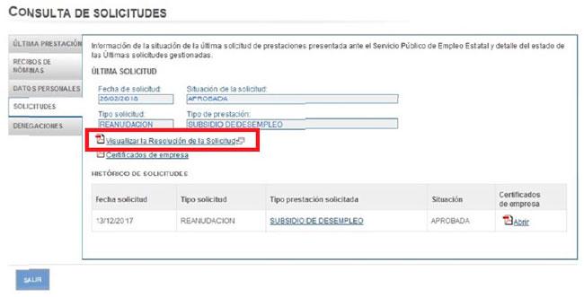 Fichero PDF con la resolución de solicitud del SEPE desde internet