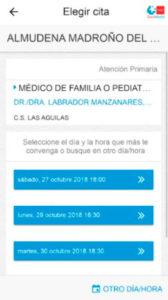 Selecciona tu día y hora con salud de Madrid por el móvil