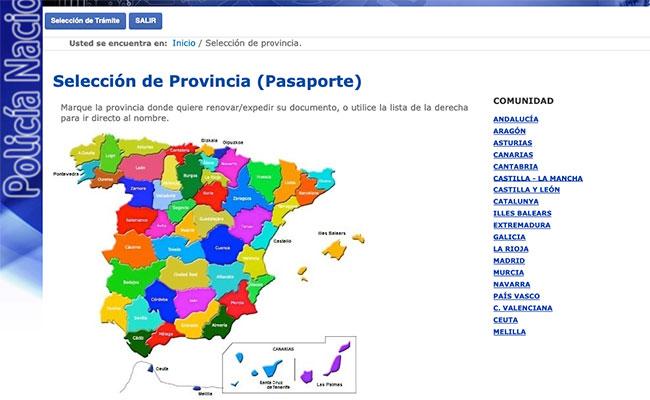 Mapa provincias revovar el pasaporte