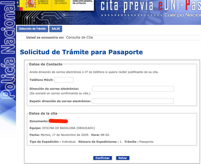 Tramitar el pasaporte