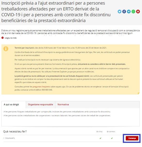 Ayuda a trabajadores en ERTE / ERTO en Catalunya