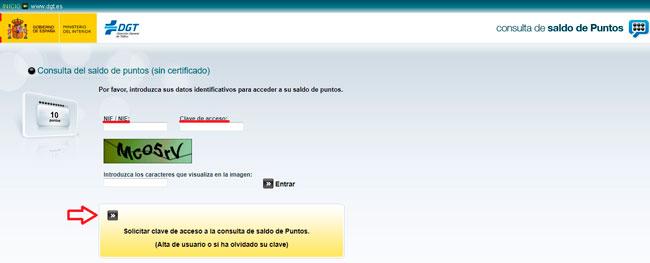 Acceso por internet a la consulta de los puntos del carnet de conducir con la DGT