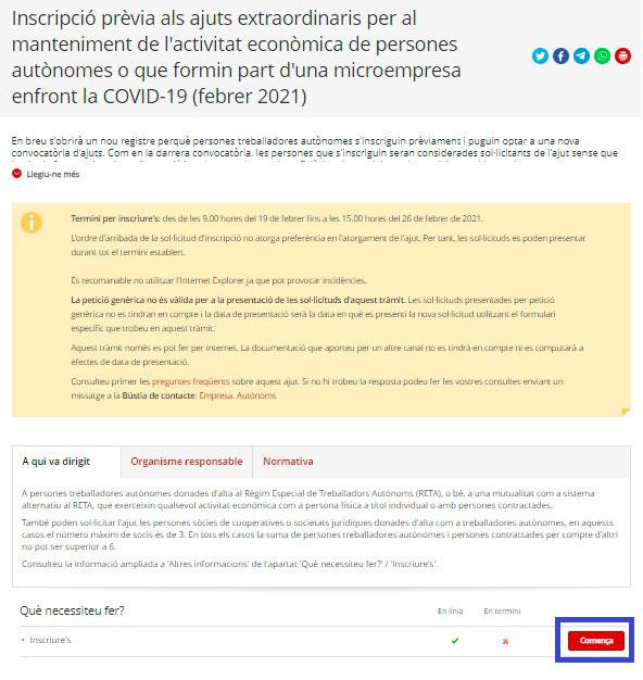 Inscribirte para la ayuda autónomos en Catalunya