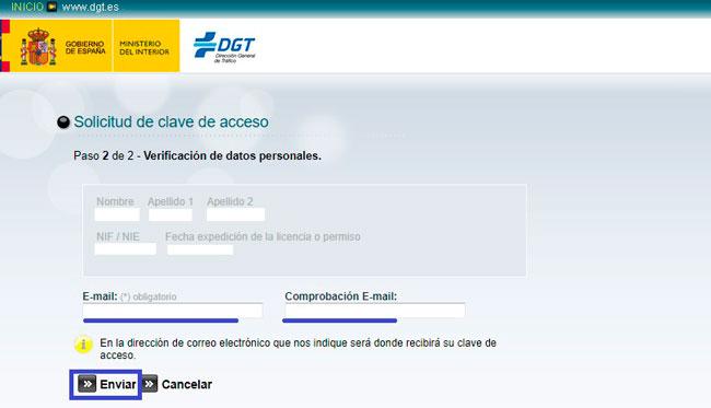 Introducir mailpara la consulta de los puntos DGT