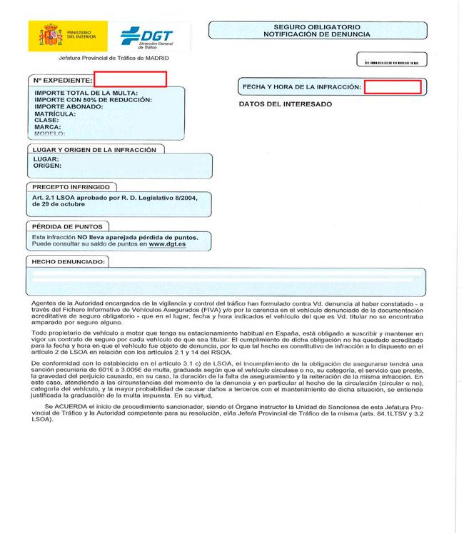 Ejemplo de una multa con el número de expediente y fecha