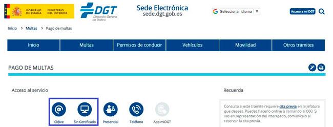 Pagar la multa de la DGT por internet