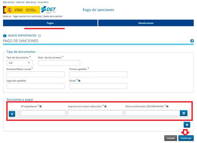 Pago de la multa de la DGT por internet