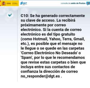 Mensaje de respuesta para conocer los puntos del carnet DGT por internet