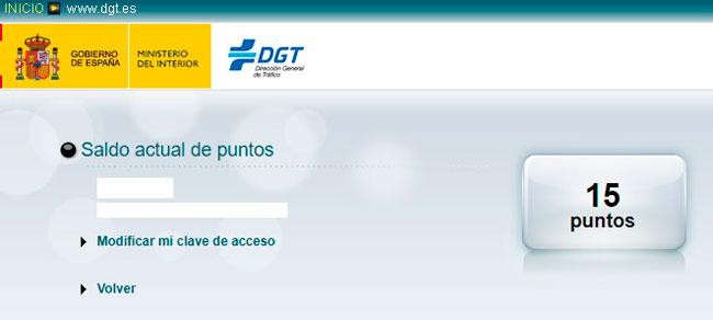 Ver el saldo de puntos DGT por internet