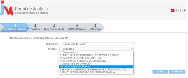 Solicitar la cita previa en el Registro Civil de Getafe
