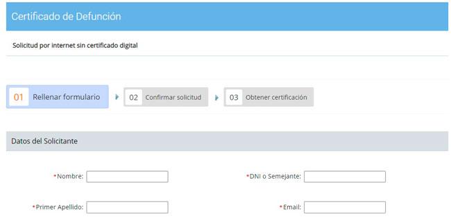 Solicitar el certificado de defunción por internet sin certificado