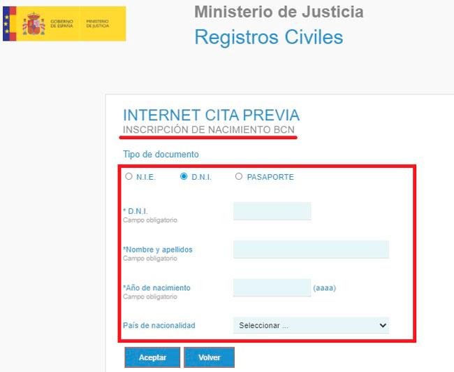 Solicitar la cita previa para el Registro Civil de forma online - nacimiento