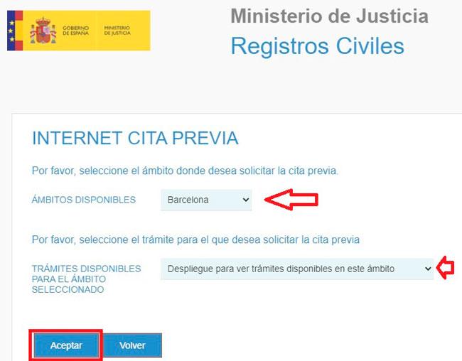 Solicitar la cita previa con el Registro Civil por internet