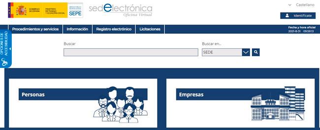 Sede electrónica del SEPE