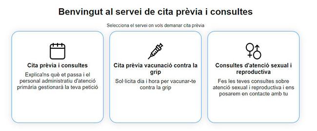 Servicios para solicitar la cita previa
