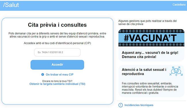 Acceso a la Cita previa CAP - Cataluña por internet