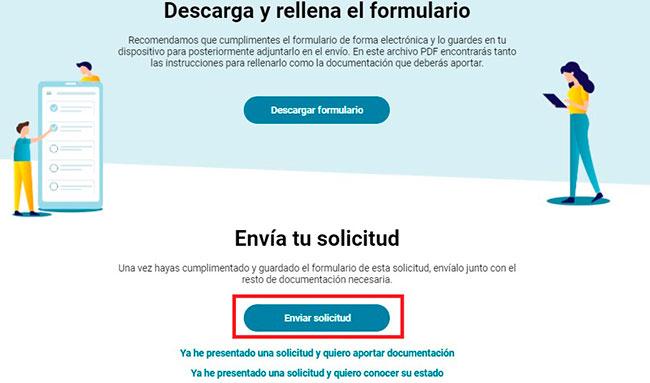 Enviar el formulario de solicitud de la prestación de la Seguridad Social por internet