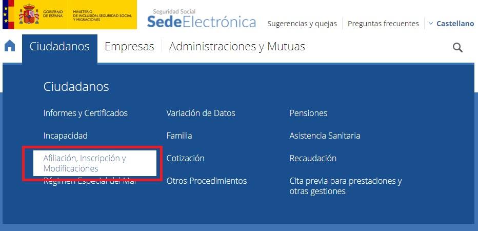 Pedir el numero/afiliación de la Seguridad Social desde la Sede Electrónica