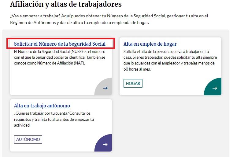 Pedir el alta del número de la Seguridad Social por la web de la Tesorería