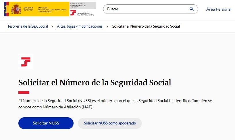Acceso a solicita el alta del número de la Seguridad Social en la web de la Tesorería